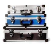 isolerade resväskor tre Royaltyfri Fotografi