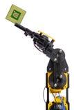 Isolerade robotarm och datorchip Fotografering för Bildbyråer