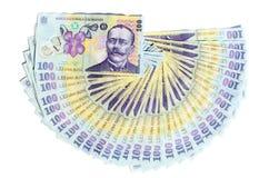 Isolerade rumänska pengar Arkivbild
