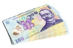 Isolerade rumänska pengar Royaltyfri Bild