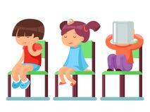 Isolerade sjuka barn för medicinsk vård som sitter på stoltecknad filmtecken, vektorillustrationen royaltyfri illustrationer