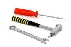 Isolerade skiftnyckel, hammare och skruvmejsel Arkivfoto