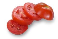 Isolerade skivor av tomaten Arkivbilder