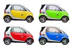 Isolerade smarta bilar för färgrik ecovänskapsmatch Arkivfoto