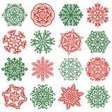 16 isolerade snöflingasymboler Hand drog vektorbeståndsdelar Arkivfoto