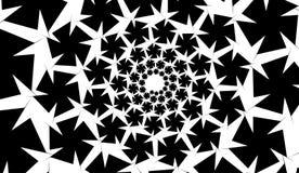 Isolerade spiral av stjärnasexhörningar på vit rektangelbakgrund vektor för bild för designelementillustration Fotografering för Bildbyråer