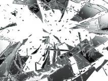 Isolerade splittrade och skadade stycken av exponeringsglas Arkivbilder
