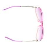 Isolerade stilfulla rosa kvinnliga exponeringsglas arkivfoto