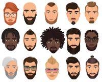 Isolerade stilfulla skäggiga män för Hipsters med olika färgfrisyrer, mustascher, skägg royaltyfri illustrationer