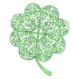 Isolerade Sts Patrick för treklöver för klotterzentangleväxt av släktet Trifolium dag Fotografering för Bildbyråer
