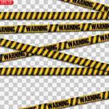 Isolerade svart- och gulingvarningslinjer stock illustrationer