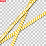 Isolerade svart- och gulingvarningslinjer royaltyfri illustrationer
