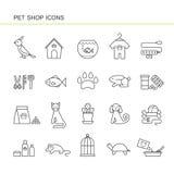 Isolerade svarta översiktssamlingssymboler av hunden, katt, papegoja, fisk, akvarium, djur mat, krage, sköldpadda, hundkoja som a vektor illustrationer