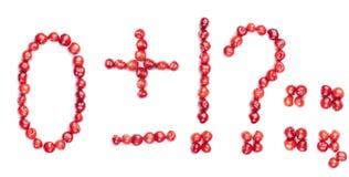 isolerade symboler för Cherry siffra Arkivfoto