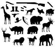 Isolerade symboler för vektordjur kontur för jakt vektor illustrationer