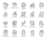 20 isolerade symboler på cosmetologytema Skönhetterapi, medicin, sjukvård, linjär symbolsc för wellnessbehandling vektor illustrationer
