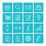 Isolerade symbolspackerengöringsduk och internet Arkivfoto