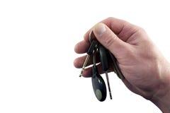 isolerade tangenter för hand holding Arkivfoto