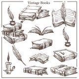 Isolerade tappningböcker skissar fjäder- och färgpulverkrukan royaltyfri illustrationer