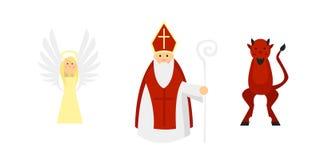 Isolerade tecken enligt den europeiska traditionen: St Nicholas med ängel och jäkel stock illustrationer