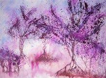 Isolerade träd i varma färger Royaltyfri Fotografi