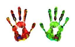 isolerade tryck för färg hand royaltyfri bild