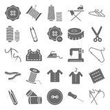Isolerade vektorsymboler för sömnad material royaltyfri illustrationer