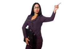 Isolerade vita bakgrunden för kvinnaaffärskvinna den begrepp Arkivbild