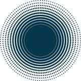 Isolerat abstrakt mörker - prickig bakgrund för blått Dekorativ bakgrund för rund form Arkivbild