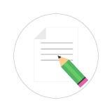 Isolerat ark av papper med blyertspennan också vektor för coreldrawillustration royaltyfria foton