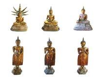 Isolerat av Buddhastatueon den vita bakgrunden arkivfoto
