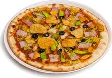 Pizza med quailägg Arkivbild
