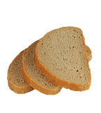 isolerat bröd skivar tre Royaltyfri Fotografi