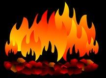 Isolerat brinnande kol varmt kol på svart bakgrund vektor illustrationer