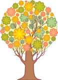 Isolerat dekorativt träd. Lövverk av stiliserad leav Royaltyfria Bilder