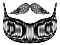 Isolerat detaljerat skägg stock illustrationer
