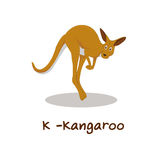 Isolerat djurt alfabet för ungarna, K för känguru Royaltyfri Fotografi