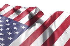Isolerat enigt tillstånd av den Amerika flaggan som vinkar realistiskt tyg 3d Arkivfoto