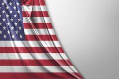 Isolerat enigt tillstånd av den Amerika flaggan som vinkar realistiskt tyg 3d Arkivfoton