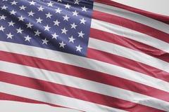 Isolerat enigt tillstånd av den Amerika flaggan som vinkar realistiskt tyg 3d Royaltyfria Foton