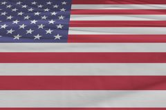 Isolerat enigt tillstånd av den Amerika flaggan som vinkar realistiskt tyg 3d Fotografering för Bildbyråer
