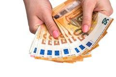 Isolerat 50 euro av sedlar Arkivfoto