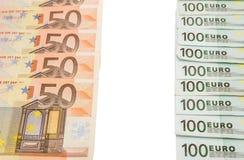 isolerat euro 100 euro och 50 Royaltyfria Bilder
