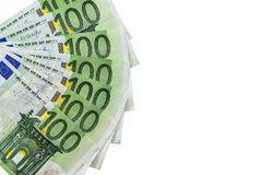 Isolerat 100 eurosedlar Arkivbilder