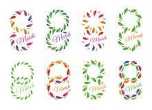 Isolerat färgrikt nummer åtta av sidor och kronblad med ordmarschsymboler ställde in, det internationella kortet för kvinnadaghäl Royaltyfria Bilder