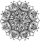 Isolerat felZen Mandala svartvitt Royaltyfri Fotografi