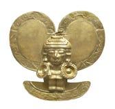 Isolerat forntida Aztec guld- diagram. Fotografering för Bildbyråer