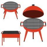 isolerat grillfestgaller Ställ in av realistiska grillfester i rött Vektorgrillfest royaltyfri illustrationer