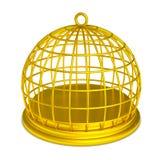 Isolerat guld- fängelse för guld- fågelbur royaltyfri illustrationer