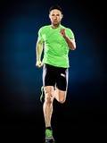 Isolerat jogga för jogger för manlöpare rinnande arkivfoto